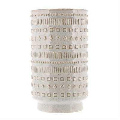 "White 10"" Indoor / Outdoor Ceramic Table Vase - Wayfair"