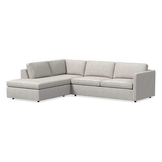 Harris Sectional Set 02: Right Arm Sleeper Sofa, Left Arm Terminal Chaise, Poly, Chenille Tweed, Irongate, - West Elm