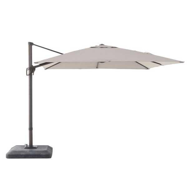 Commercial 10 ft. x 10 ft. Aluminum Square Offset Cantilever Patio Umbrella in Sunbrella Cast Shale - Home Depot