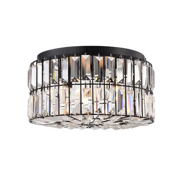 Warehouse of Tiffany Silver 14 in. 4-Light Indoor Black Finish Flush Mount Ceiling Light with Light Kit - Home Depot