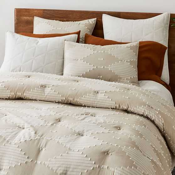 Clipped Diamonds Chambray Comforter, Full/Queen Set, Natural - West Elm