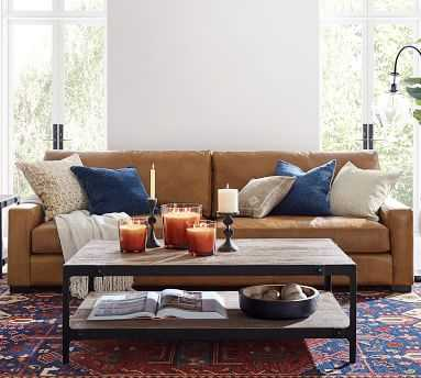 """Turner Square Arm Leather Apartment Sofa 2-Seater 64.5"""", Down Blend Wrapped Cushions, Vintage Caramel - Pottery Barn"""