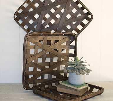 Split Wood Deocrative Square Wall Baskets - Set of 3 - Pottery Barn