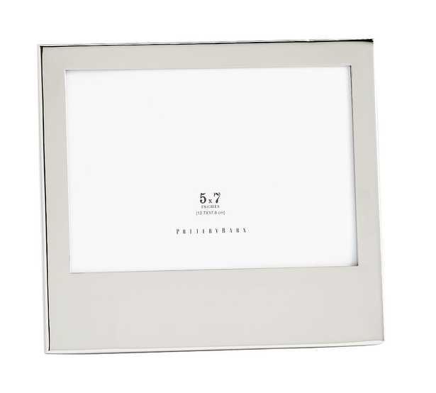 "Modern Silver Personalized Wide-Base Frame, Horizontal, 5"" x 7"" - Pottery Barn"