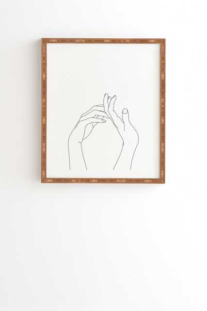 """Hands Line Drawing Abi by The Colour Study - Framed Wall Art Bamboo 8"""" x 9.5"""" - Wander Print Co."""