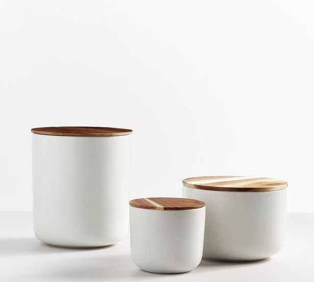 Mason Stoneware Canisters, Set of 3 (Small, Medium & Large) - Ivory - Pottery Barn