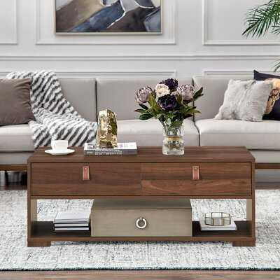 Wood Cocktail Coffee Table With 2 Drawers And Open Storage Shelf - Wayfair