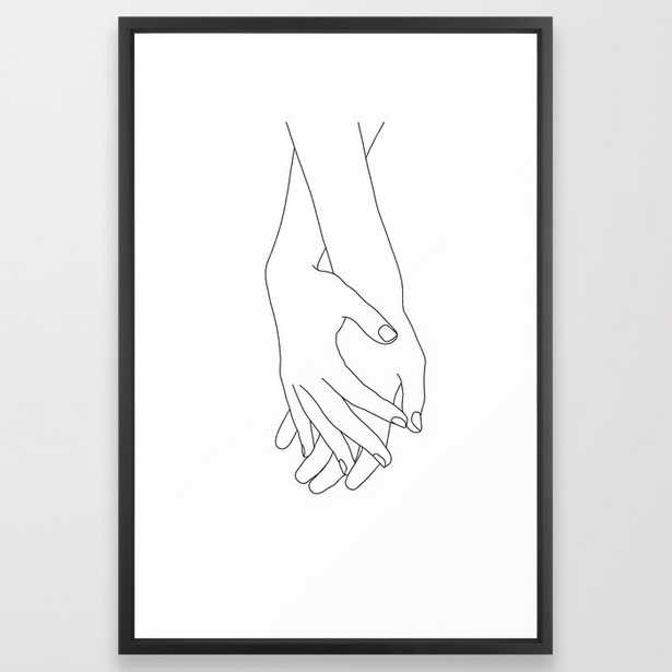 Holding Hands Illustration Elana White Framed Art Print by The Colour Study - Vector Black - LARGE (Gallery)-26x38 - Society6