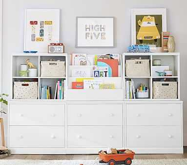 Cameron 1 Bookrack, 2 Cubby, & 3 Double Drawer Base Set, Simply White, Flat Rate - Pottery Barn Kids