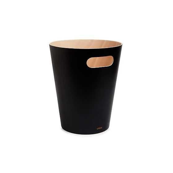 Umbra Woodrow Trash Can, Black & Natural - West Elm