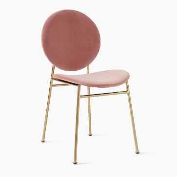 Ingrid Dining Chair, Astor Velvet, Pink Grapefruit, Light Bronze - West Elm