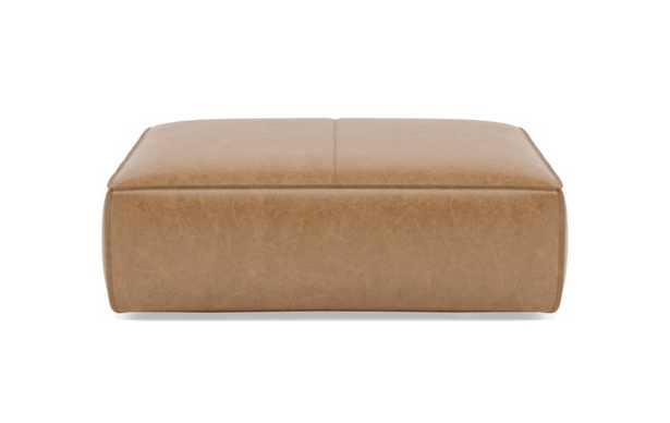 Gray Ottoman with Brown Palomino Leather - Interior Define