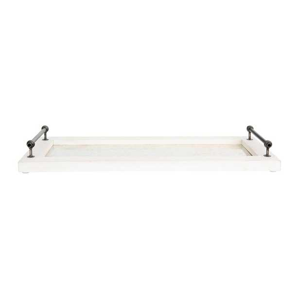 3R Studios White Decorative Tray with Handles, Brown - Home Depot