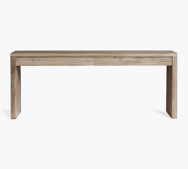 """Pismo 80"""" Desk with Drawers, Warm Rustic Gray - Pottery Barn"""