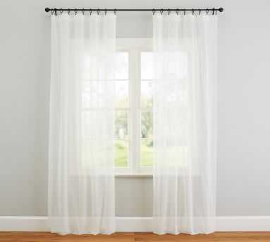 """Classic Voile Sheer Pole Pocket Curtain, 50 x 84"""", Classic Ivory - Pottery Barn"""