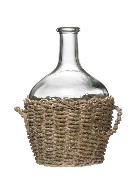 Glass Bottle in Woven Seagrass Basket with Handles - Nomad Home