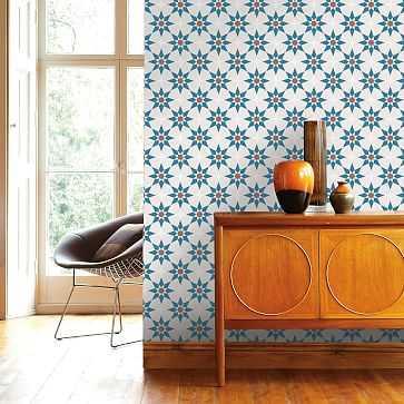 Tempaper Peel & Stick Soleil Wall Paper, Terracotta & Blue - West Elm