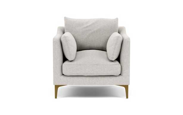Caitlin by The Everygirl Petite Chair with Beige Pebble Fabric and Brass Plated legs - Interior Define