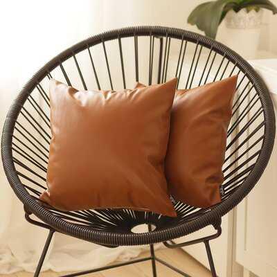 Steiger Decorative Square Faux Leather Pillow Covers (set of 2) - Wayfair