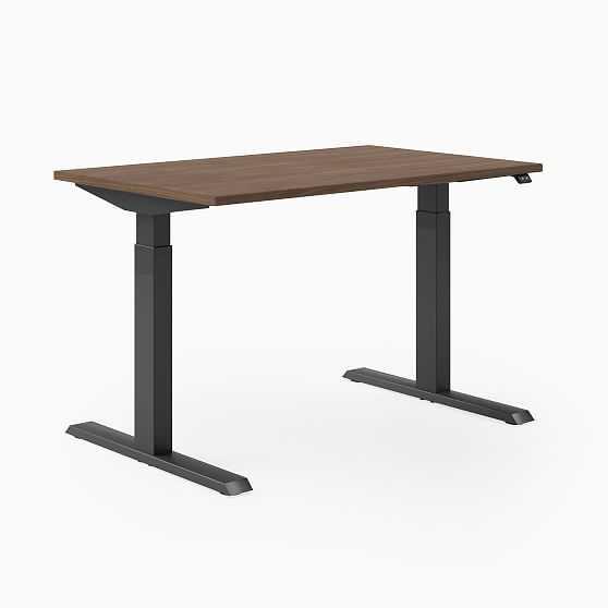 "Steelcase Migration SE Height-Adjustable Desk, 29""x58"", Virginia Walnut, Merle, Mitered Edge Foot - West Elm"