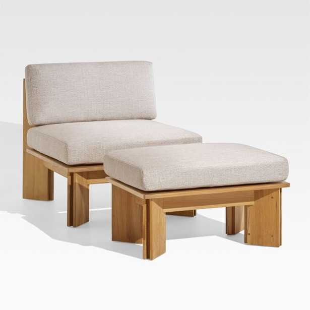Olivos Teak Outdoor Lounge Chair with Ottoman - Crate and Barrel