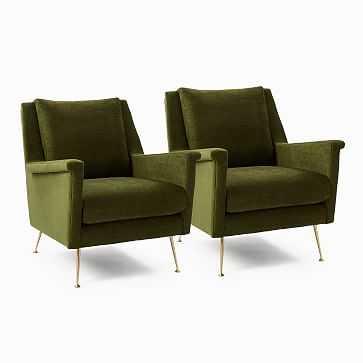 Set Of 2: Carlo Mid-Century Chair, Poly, Distressed Velvet, Tarragon, Brass - West Elm