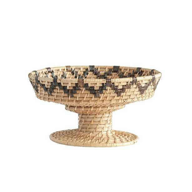 3R Studios Beige Decorative Handwoven Rattan Bowl on Pedestal - Home Depot