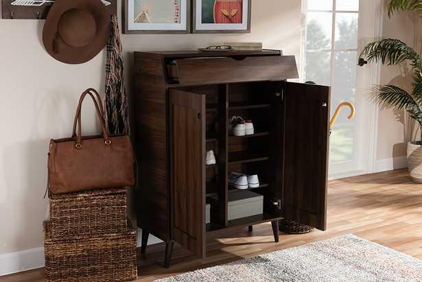 Baxton Studio Cormier Mid-Century Modern Walnut Brown finished 2-Door Wood Entryway Shoe Storage Cabinet - Lark Interiors