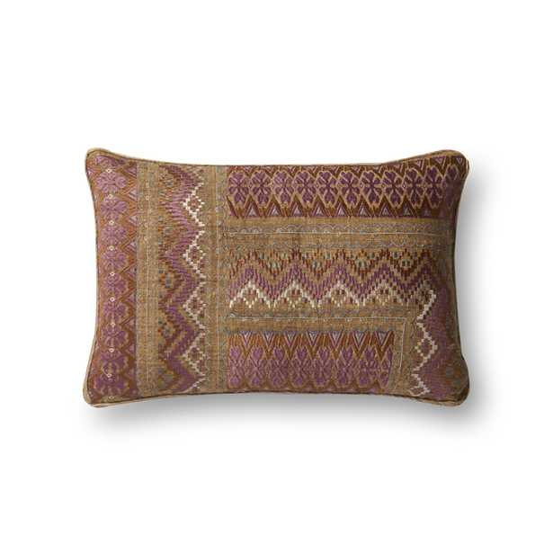 """Loloi PILLOWS P0497 Pink / Rust 13"""" x 21"""" Poly filled - Loma Threads"""