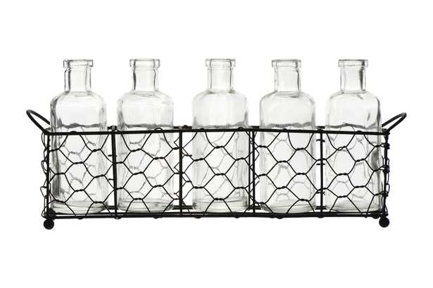 Wire Holder with 5 Glass Vase Bottles (Set of 6 Pieces) - Nomad Home