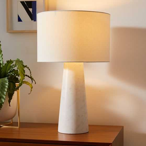"""Foundational Marble Table Lamps, 22"""", White, Set of 2 - West Elm"""