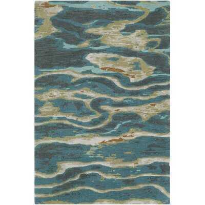 Bandino Abstract Handmade Tufted Wool Blue/Teal Area Rug - Wayfair