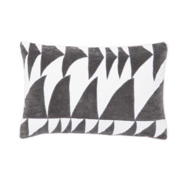 Cosmic By Nikki Chu Living Priscilla Geometric Linen Lumbar Pillow Color: White/Dark Gray, Fill: Polyester / Polyfill - Perigold