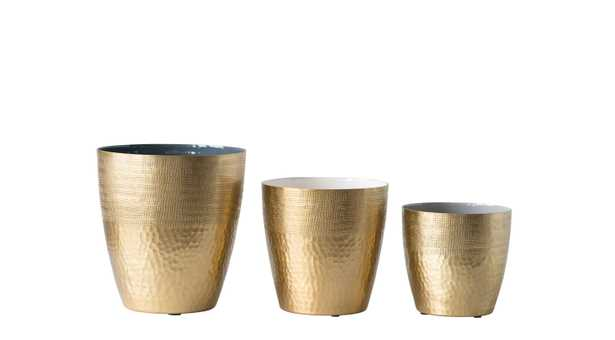 Matte Brass Planters with Multicolor Enameled Interior (Set of 3 Sizes) - Nomad Home