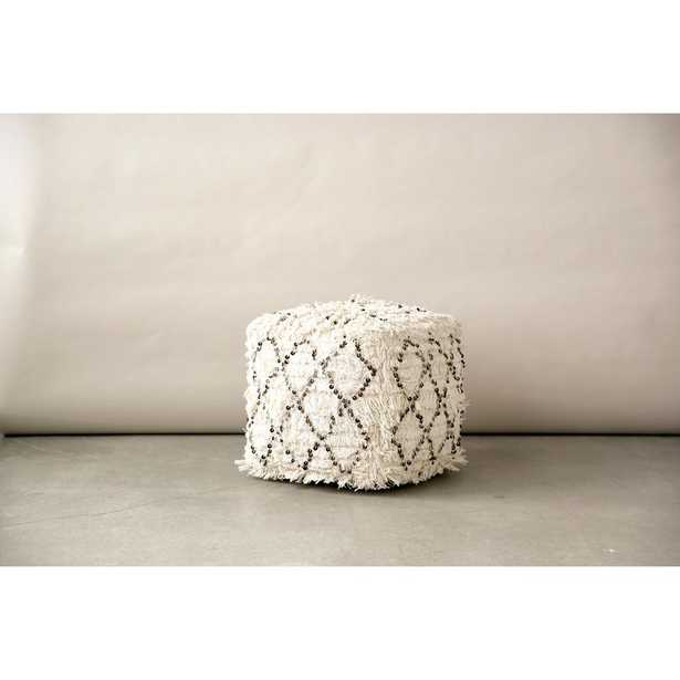 3R Studios White Fringed with Sequins Moroccan Pouf - Home Depot
