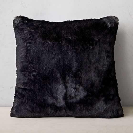 """Faux Fur Chinchilla Pillow Cover, 20""""x20"""", Black - West Elm"""