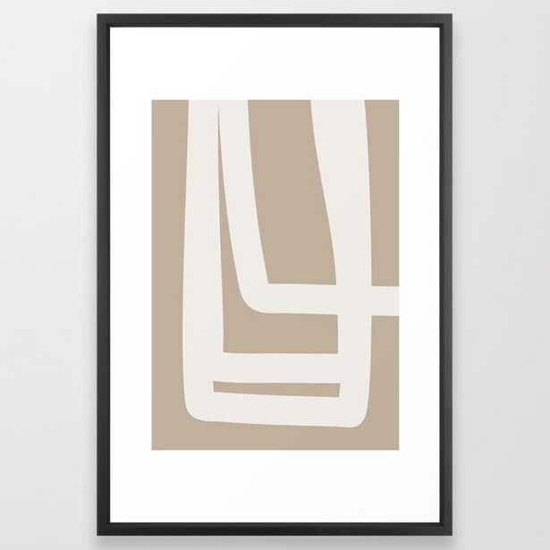 Neutral Abstract 5a Framed Art Print by The Old Art Studio - Vector Black - LARGE (Gallery)-26x38 - Society6