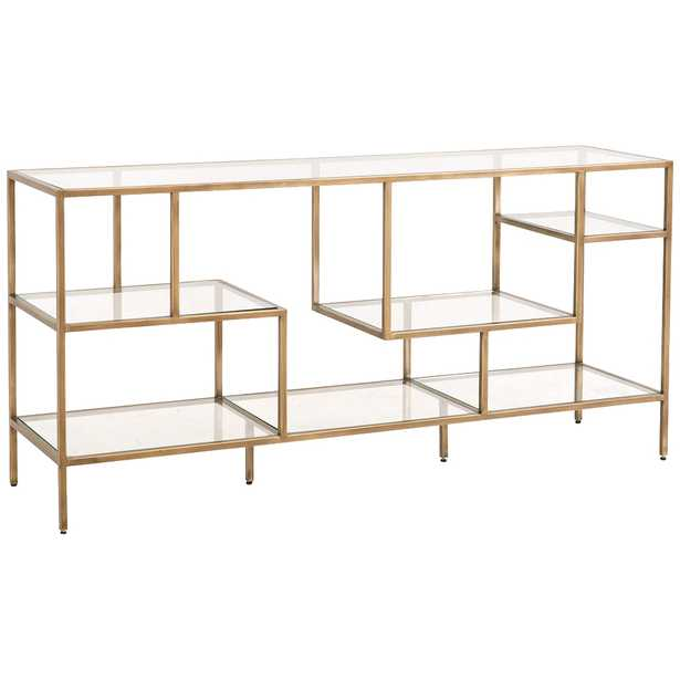 """Beakman 59"""" Wide Brass Metal and Glass 4-Shelf Low Bookcase - Style # 86H89 - Lamps Plus"""