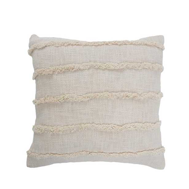 LR Home Striped Birch Beige Over Tufted 20 in. x 20 in. Solid Throw Pillow - Home Depot
