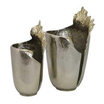 2 Piece Gold Metal Table Vase Set - Wayfair