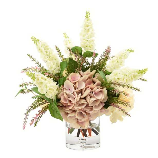 Hydrangea and Lilac Floral Arrangement and Centerpiece in Glass Vase - Perigold