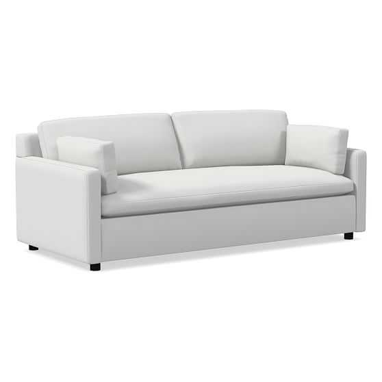 """Marin 85.5"""" Sofa, Down, Performance Washed Canvas, Stone White, Concealed Support - West Elm"""