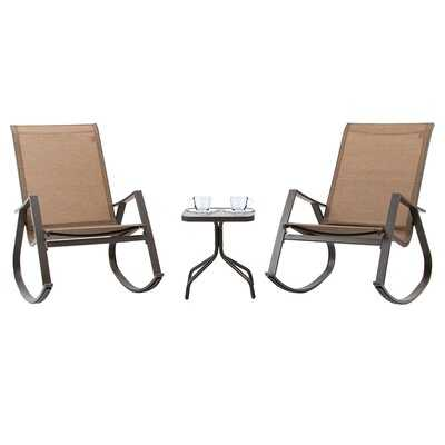3 Pcs Patio Bistro Set, Rocking Chairs & Tempered Class Coffee Table, Outdoor Recliner Chairs All-weather Relaxation Set For Lawn Camping Beach Poolside (brown) - Wayfair