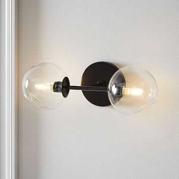 Staggered Glass Double Sconce, Dark Bronze, Set of 2 - West Elm
