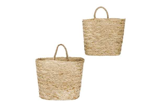 Handwoven Beige Seagrass Wall Baskets (Set of 2 Sizes) - Nomad Home
