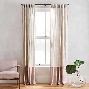 "Belgian Flax Linen + Luster Velvet Curtain, Natural + Dusty Blush 48""x96"" - West Elm"