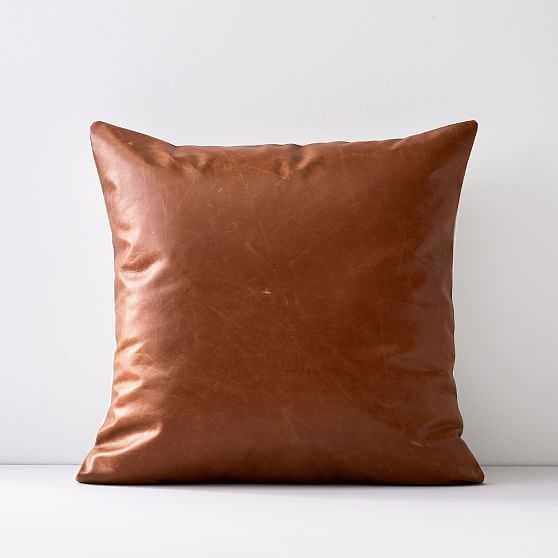 """Leather Pillow Cover, 20""""x20"""", Saddle - West Elm"""