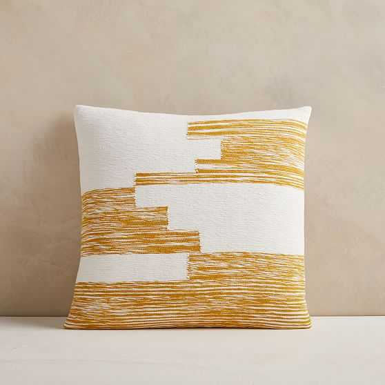 "Cotton Variegated Colorblock Pillow Cover, 18""x18"", Dark Horseradish - West Elm"