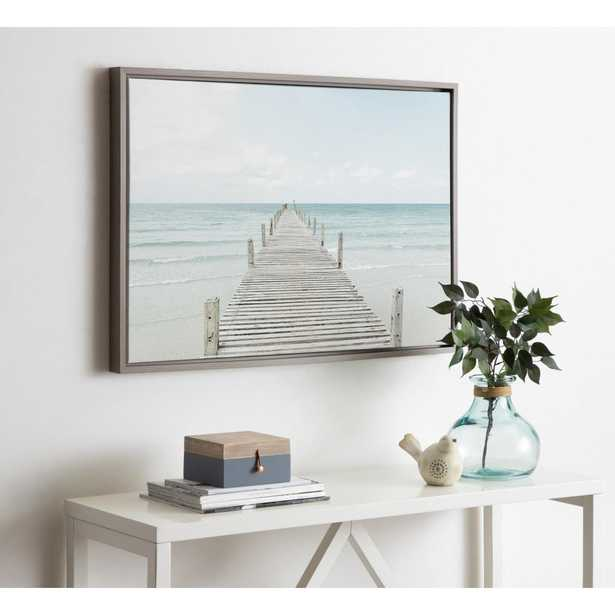 """Kate and Laurel Sylvie """"Wooden Pier on the Beach"""" by Amy Peterson Framed Canvas Wall Art, Gray - Home Depot"""