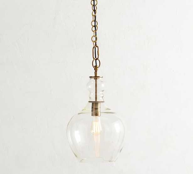 "Flynn Recycled Glass Pendant, Small 11.5"" Diameter, Brass - Pottery Barn"